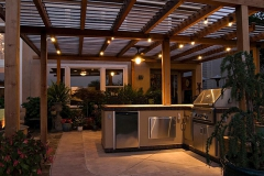 Backyard awning lighting